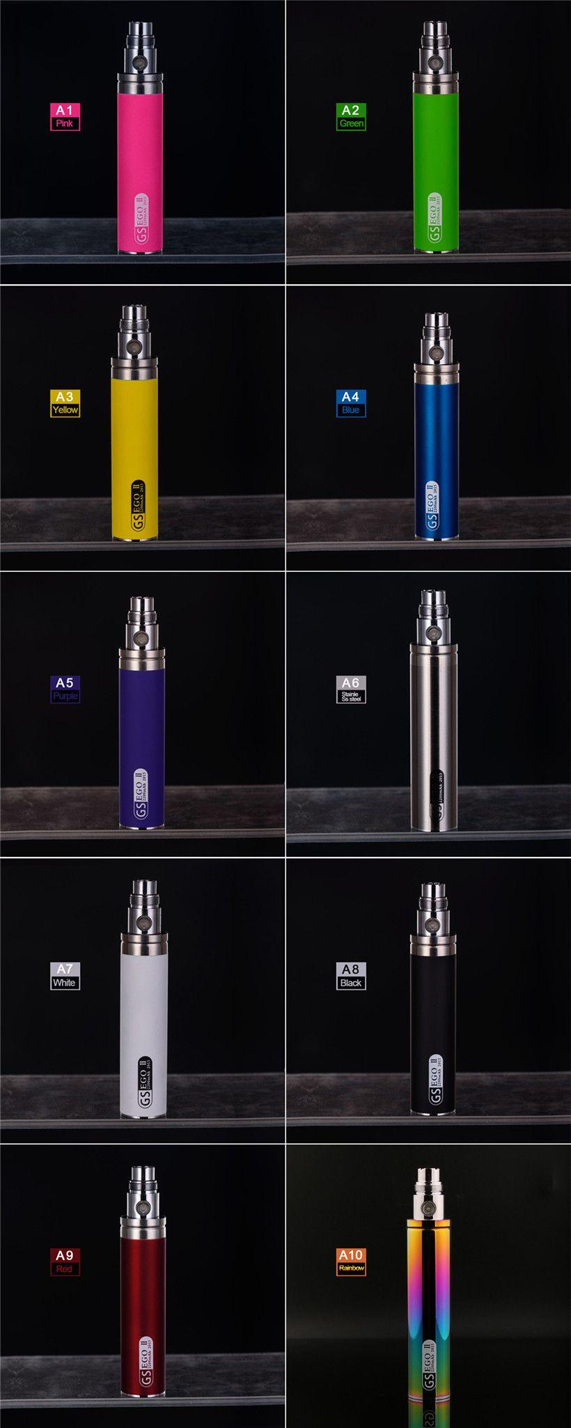 GS EGO II 2200 mAH E Sigara Pil Lumia Edition 3D Şekil Renkli 2200 MAH EGO T Piller Buharlaştırıcı Kalem Fit 510 Konu Atomizörler