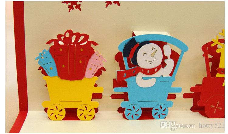 Großhandelsneues handgemachtes frohe Weihnachten kreative Kirigami Origami 3D Pop UP Weihnachtszug-Gruß-Karten-Geschenk-Postkarten