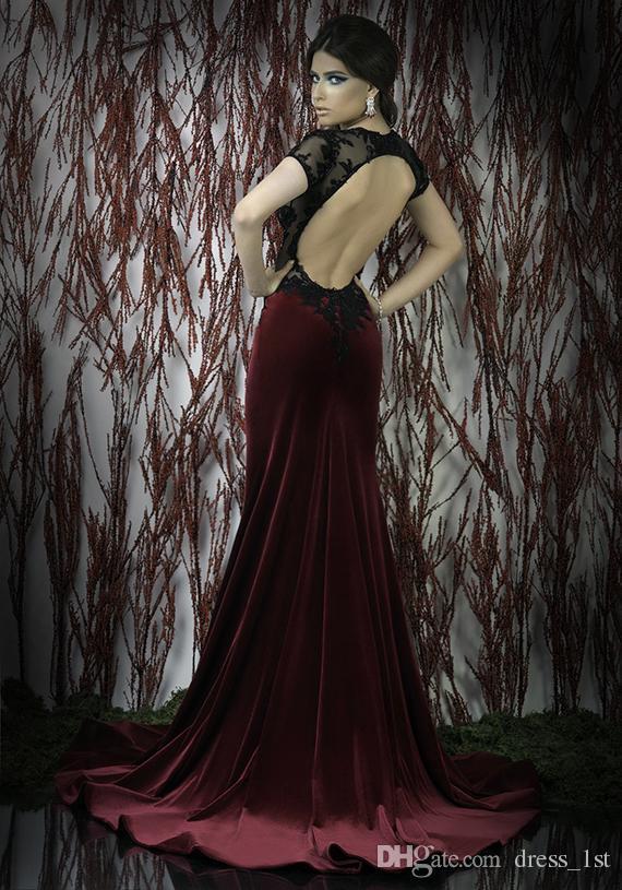 Elegante Abendkleider 2018 Sexy Meerjungfrau Open Back Perlen Spitze Appliqued Sheer Mieder Kurze Ärmel Schwarz Top Burgund Samt Abendkleider