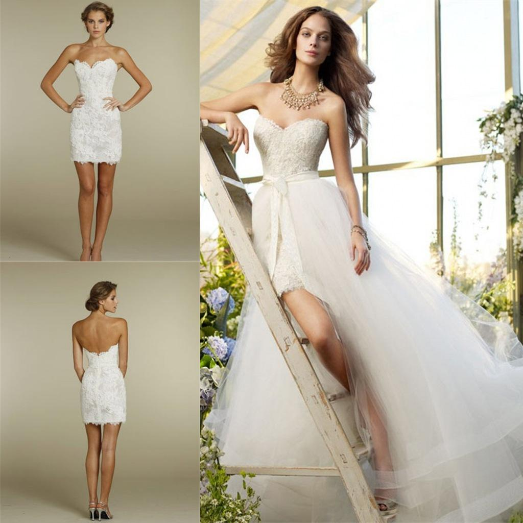 Short sheath lace wedding dresses with detachable train for Short wedding dress with removable train