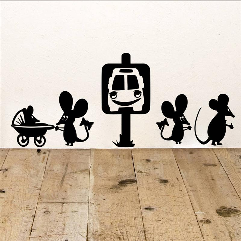 Freeship Funny Mouse Family Car Cartoon Wall Stickers Room Decoration Diy Vinyl Home Decals Animal Mural Art Posters