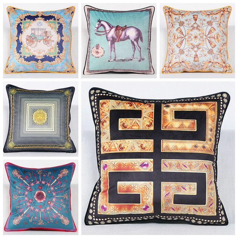 Luxury Velvet Cushion Cover Blue Horse Sofa Throw Pillow Case Euro