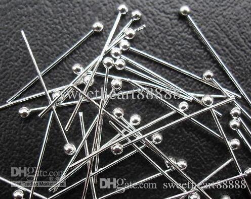 Verzilverd koperen massieve bal hoofd pin 50mm gratis schip 1000 stks / partij sieraden bevindingen componenten heet