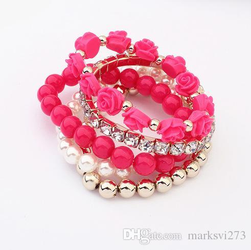 Zielony różowy wielowarstwowy rozciągliwy kwiat róży i zroszony bransoletka biżuteria z bling rhinestone s99411