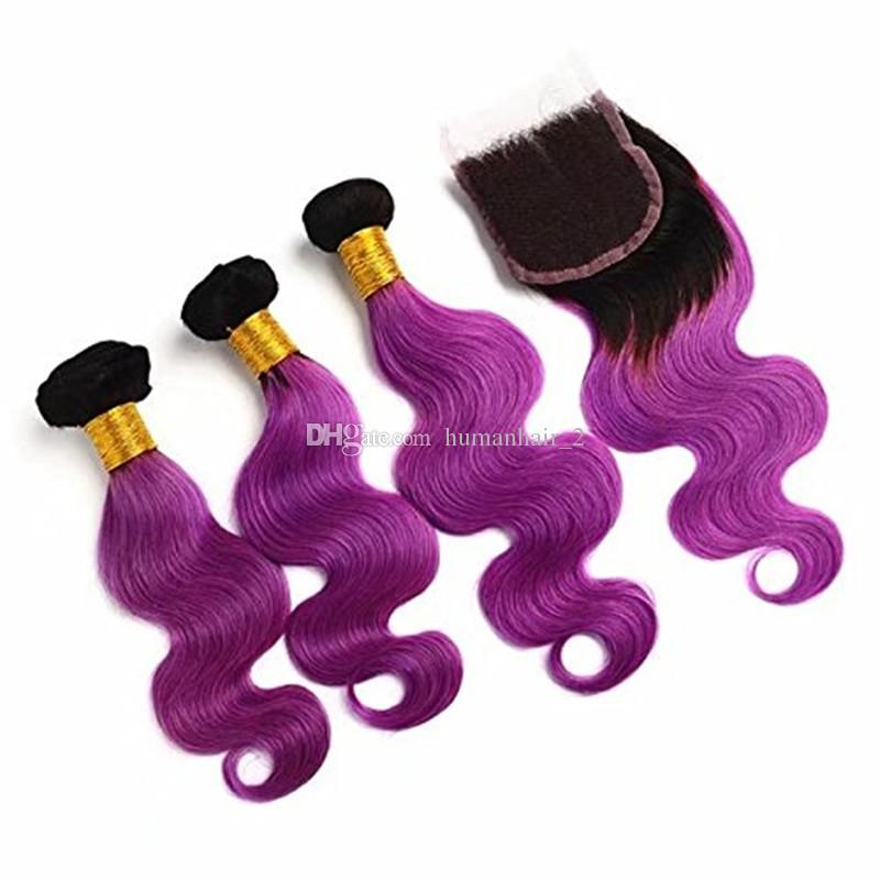8A Brazilian Purple Virgin Hair Weave 3 Bundles With Lace Closure Ombre Hair Extensions With Closure 1B Purple Ombre Body Wave Human Hair