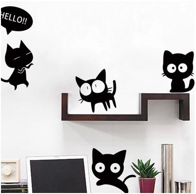 Black Cat Wall Stickers Home Decor Kitchen Wall Sticker Diy Adesivo De  Parede Bedroom Papel De Parede Infantil Beach Wall Stickers Bedroom Decal  From ... Part 10