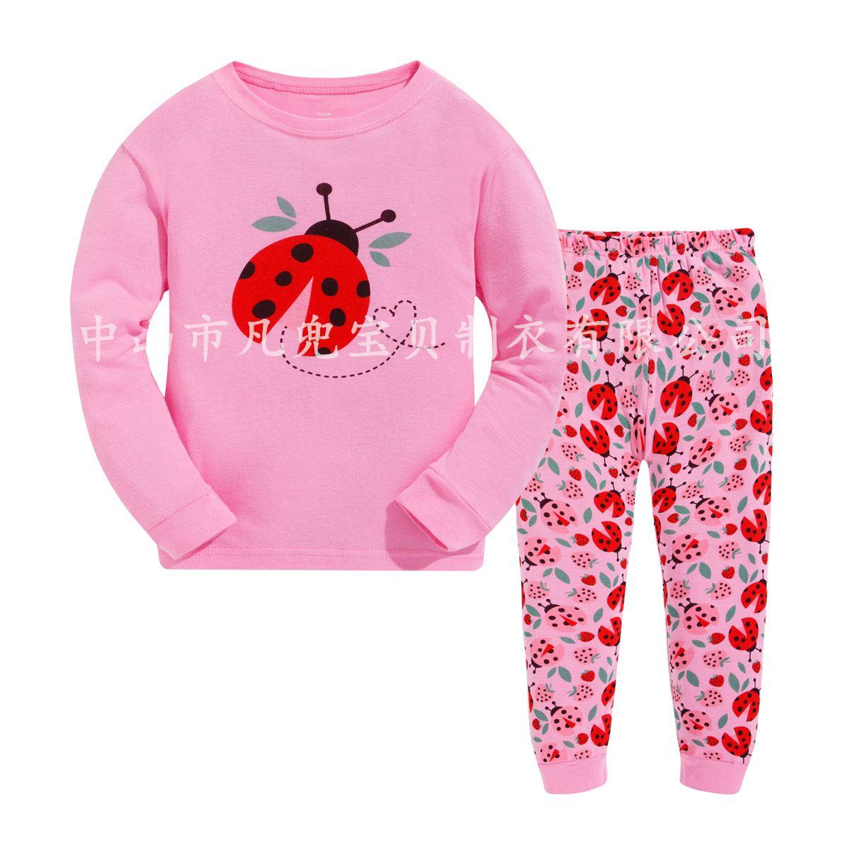 45811effe78a Hotsale Children Pajamas Girls Nightwear Pink Pyjamas Two Pieces Set ...