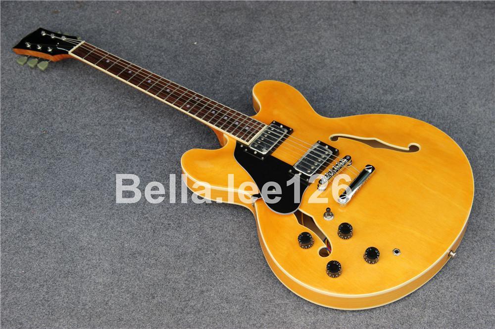 인기있는 고전적인 점보 중공 몸 맞춤 왼손 재즈 335 일렉트릭 기타, 공장 OEM 수제 기타, 무료 배송