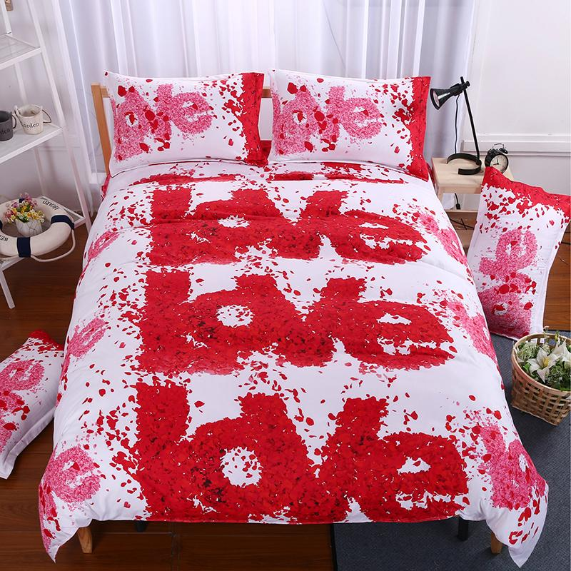Bedding Set 3d Bed Set Eiffel Tower Rose Butterfly Sunflower Panda  Bedclothes Duvet Cover Sheet Queen King Size Love Bed Linen White Duvet Set  Black And ...