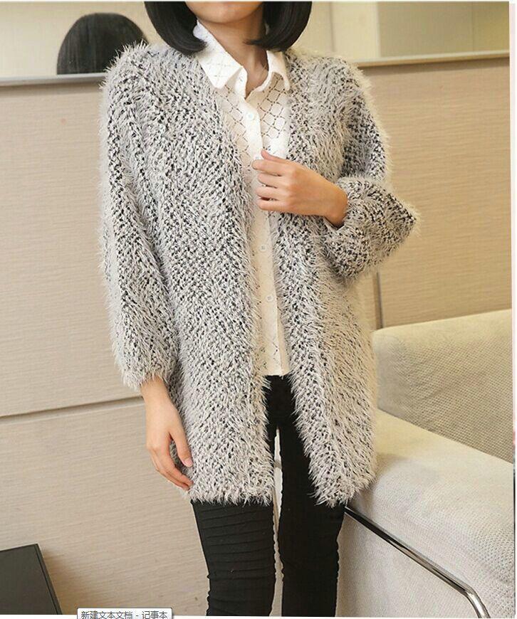 Best Korean Girls Long Cardigan Sweater Coat Loose Mohair Shawl ...