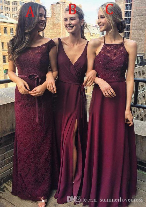 2018 Dark Red Lace Robes De Demoiselle D'honneur Longues Chifon Perlée Longues pour le Mariage Invité Robe Avant Split Robes D'honneur Robes