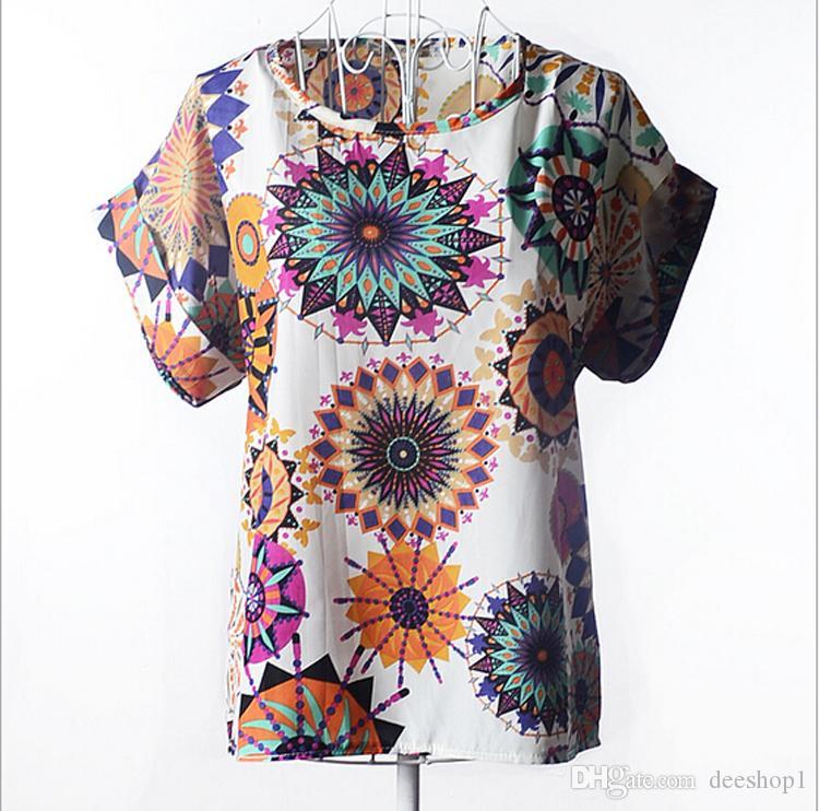 Yaz Tarzı O Boyun Kuş Baskılı Kadınlar Tops Renkli Kısa Kollu Kadın T-Shirt Batwing Gevşek Şifon Gömlek Feminino 2016 Yeni