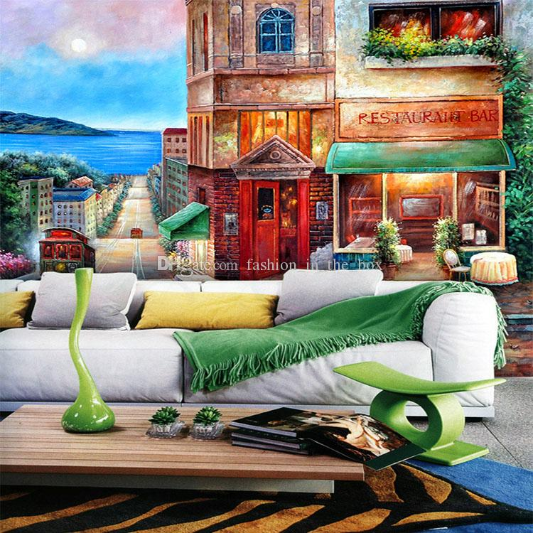 European wall murals street painting photo wallpaper for Cafe wall mural