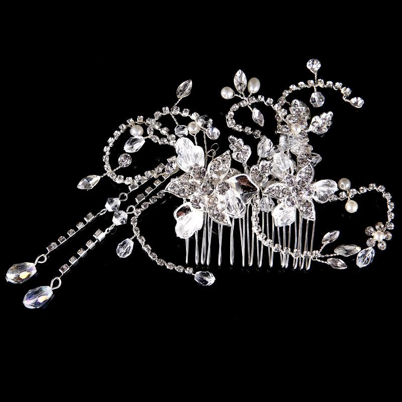 New Fashion Bride Wedding Tiaras Women Hair Jewelry Luxury Rhinestone Crystal Hair Comb Hairclip Headpieces for Prom Evening party