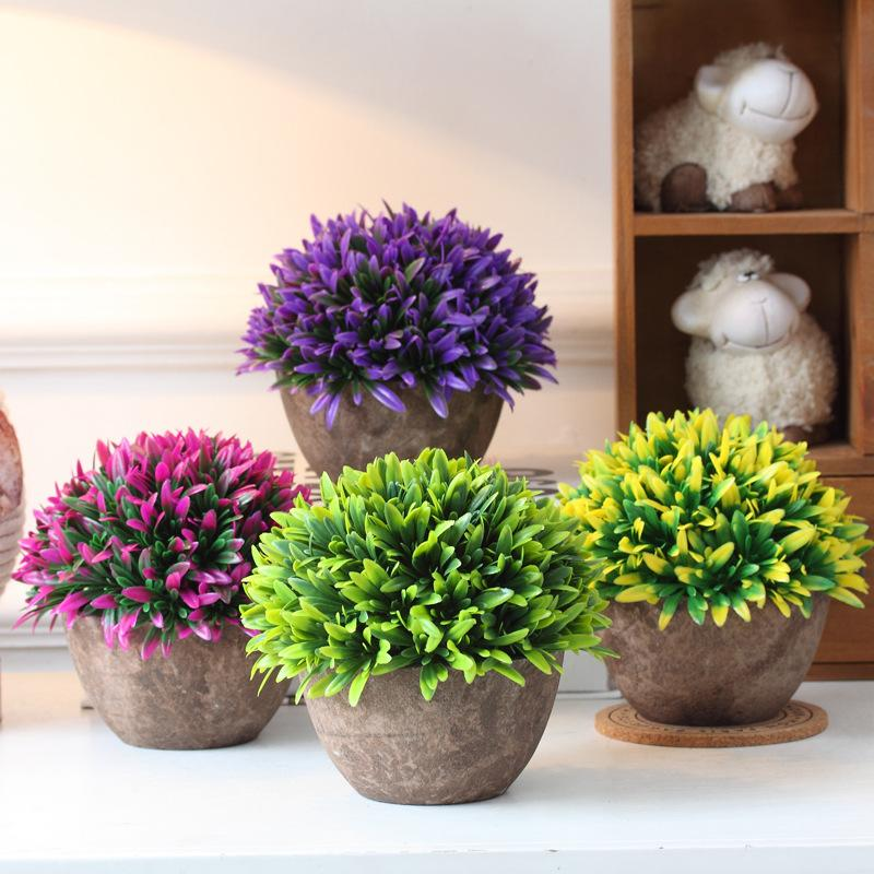 2017 hyson shop artificial bonsai for home decor pot planter decorative flower artificial bonsai real touch fake plant round shape 2 kinds grass from - Home Decor Flowers