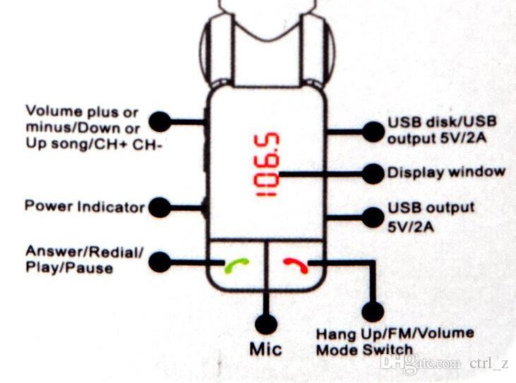 BC06 Bluetooth Auto Ladegerät BT Auto Ladegerät MP3 BC06 MP3 MP4 Player Mini Dual Port AUX FM Transmitter