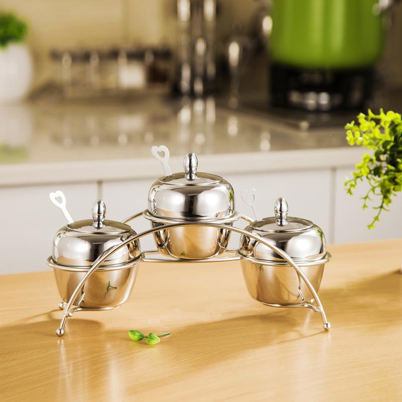 2018 Hot Sale New Stainless Steel Sugar Bowl Condiments Container Set  Kitchen Tool Small Three Sugar Jar A Set With Stand For Kitchen Tools From  Anthonylin, ...