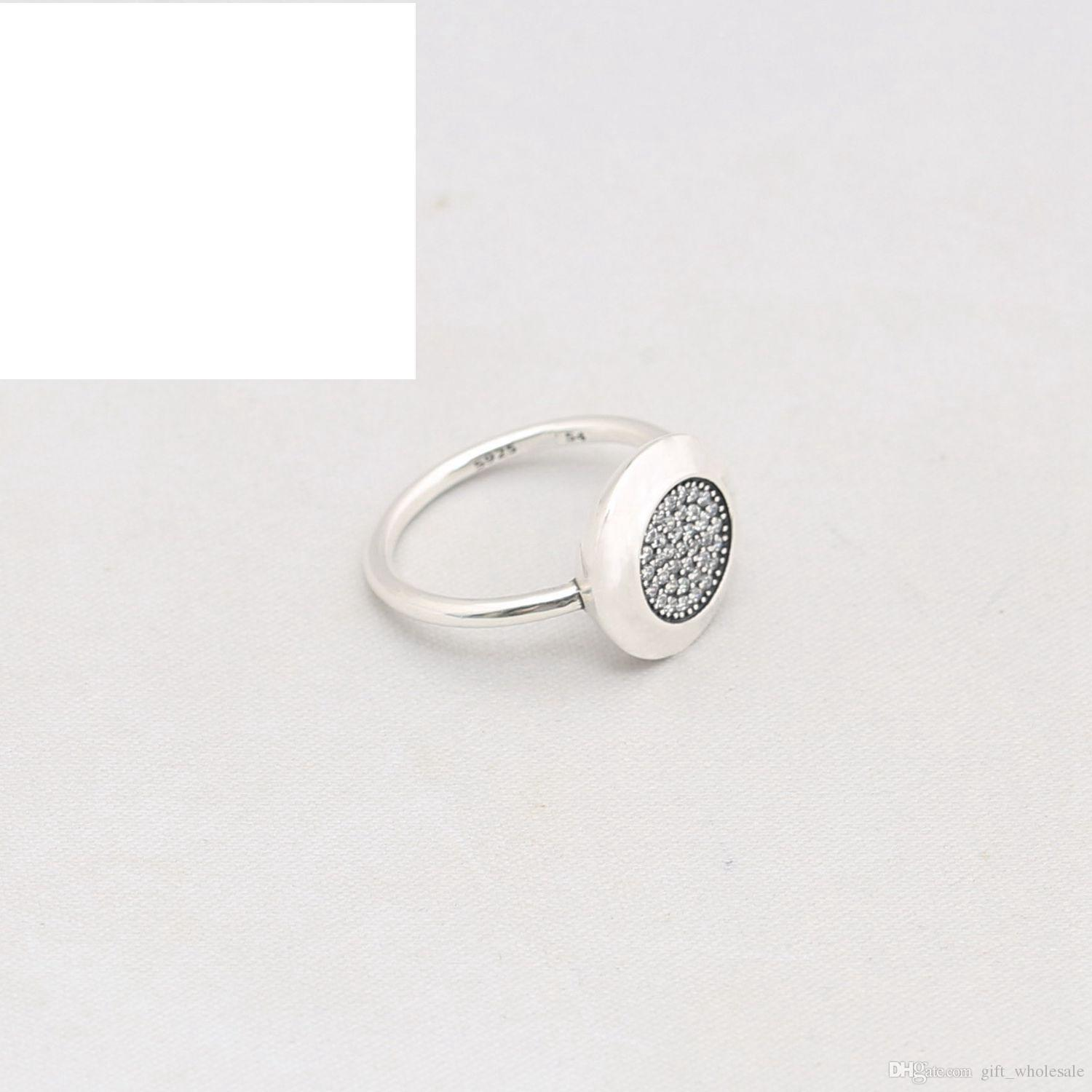 newest Compatible with pandora Jewelry Silver Ring w/ logo Authentic 925 Sterling Silver round disc Ring with cz paved with box