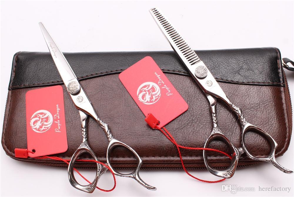 "Z9001 6"" Japan 440C Purple Dragon Laser Professional Human Hair Scissors Hairdressing Scissors Cutting Thinning Shears Salon Style Tool"