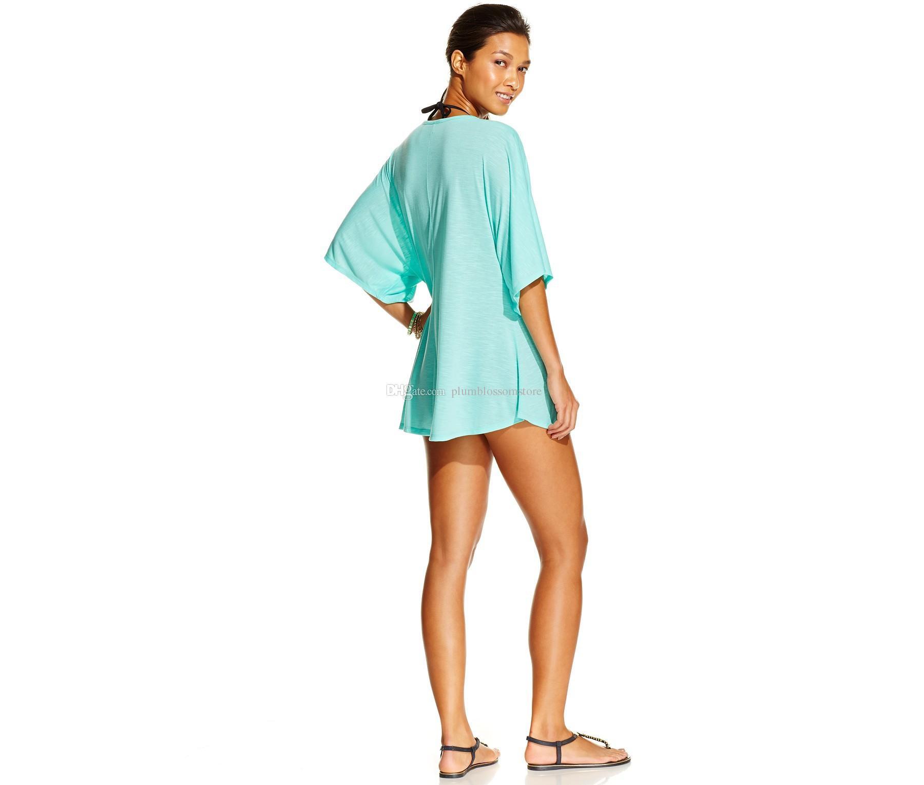 women summer LOVE printing loose t-shirts bikini cover ups beach bohemian sunscreen holiday seaside t-shirts blouses tops swimwear beachwear