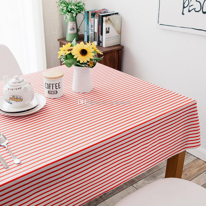Blue Red Stripe Party Table Cover Cloth Tablecloth Cotton And Linen ...
