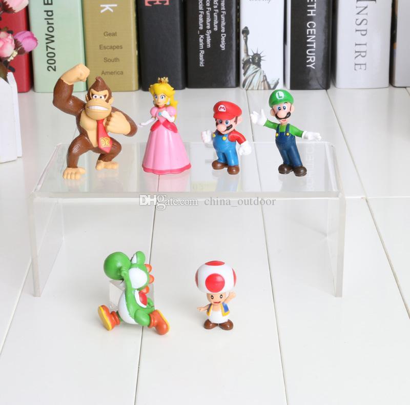 2int PVC Super Mario Bros Luigi donkey kong Action Figures youshi mario Gift OPP retail