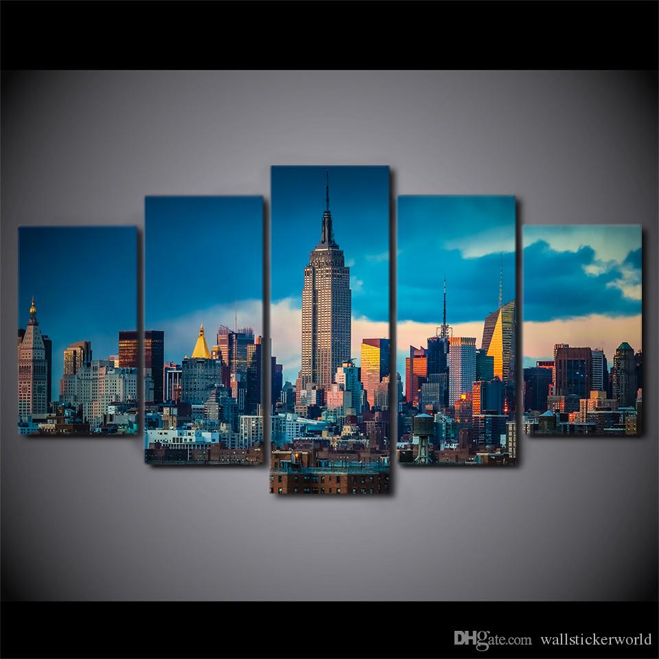 5 Panel Framed HD Printed New York City Empire State Building Poster Canvas Oil Painting Wall Pictures For Living Room