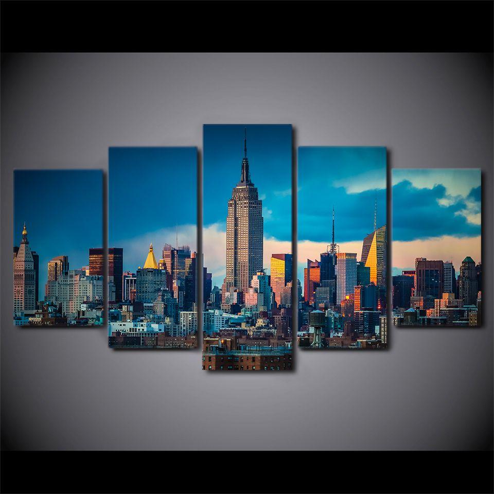 Großhandel 5 Panel Gerahmte Hd Gedruckt New York City Empire State ...
