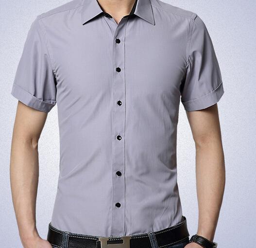 여름 새 망 면직물 반팔 드레스 셔츠 칼라 패치 남성 가운 칼라 셔츠 남성 비즈니스 셔츠