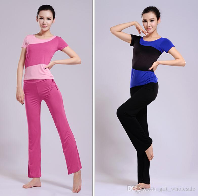 2015 Women Ladies Yoga Pilates Gym Training Exercise Running Sports Short Or Long Sleeve T Shirt & Trousers/Pants Suit Wears