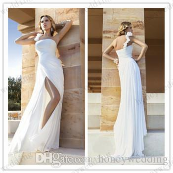 Discount 2015 Plus Size Cheap Beach Wedding Dress One Shoulder