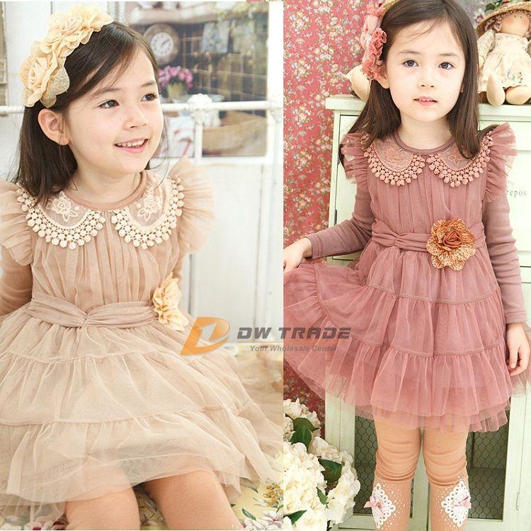 380e62b4493 2015 Girls Romance Lace Dress Children Kids Girl Peter Pan Collar Princess Party  Dresses with Solid Flower Belt J020305  Girls Romance Lace Dress Kids Girl  ...
