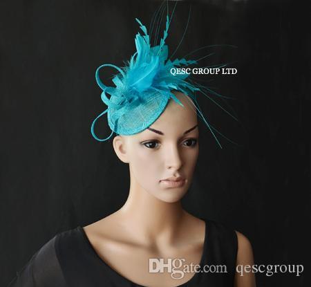 Turquoise blauwe kleine veer fascinator Sinamay fascinator voor Kentucky Derby of bruiloft.