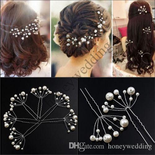 6 pezzi Nuovi accessori capelli da sposa Perline di fiori Perni capelli Perni di perle Pettine Abiti da sposa Accessori Accessori capelli