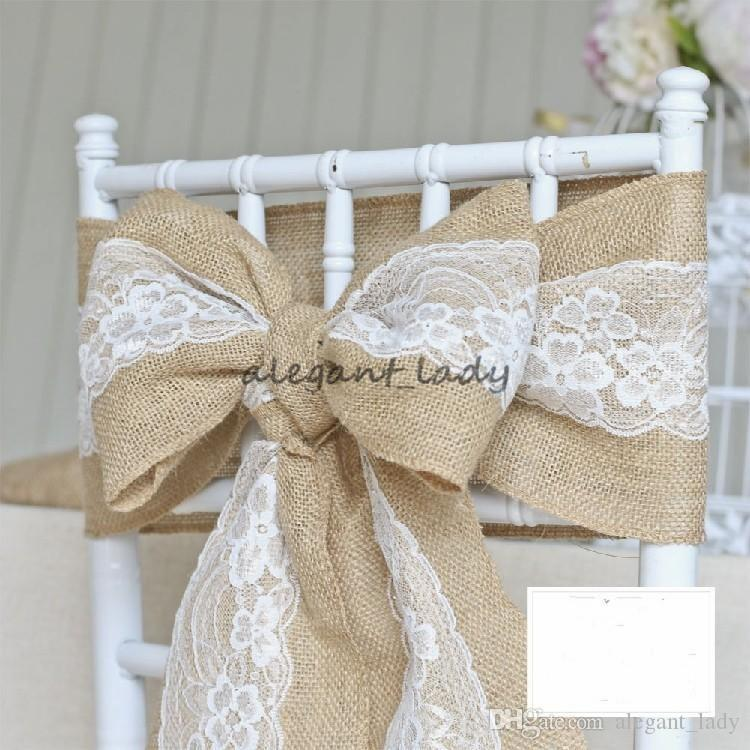 240 x 15cm Lace Bowknot Burlap Chair Sashes Natural Hessian Jute Linen Rustic Chair Cover Tie Bowknot for Wedding Chair Decor DIY Crafts