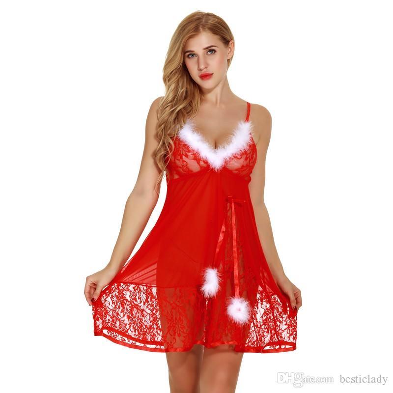 Garniture de fourrure blanche Fuzzy Christmas garniture de babydoll rouge avec culotte femmes sexy Santa intime vêtements lingerie pure dentelle vêtements de nuit robe