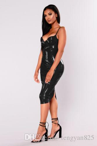 Hot Sexy Black /Red PVC Women Club Dress Bodycon Party Dresses Ladies Vestidos Outfits Clubwear Costume S-6XL 873