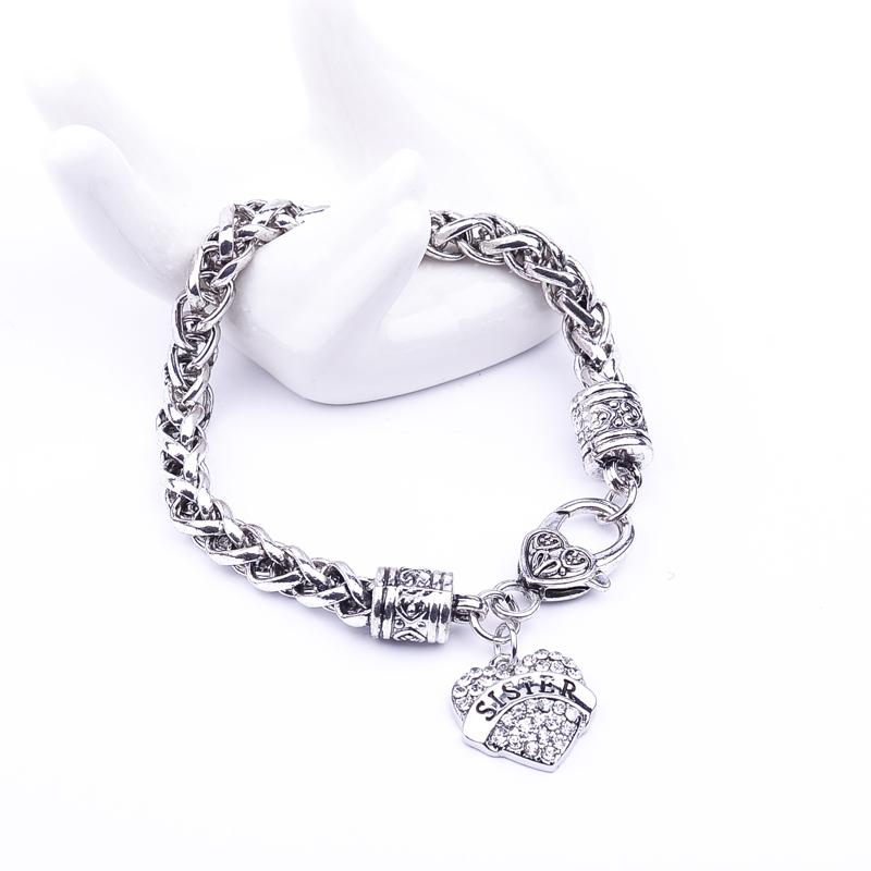 2018 father's day gift crystal Small peach heart full drill letters SISTER family members bracelet jewelry Christmas gift
