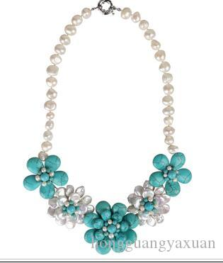 Natural pérola turquesa mão pura preparado acessórios colar feminino curto-estilo clavícula adorno antigo