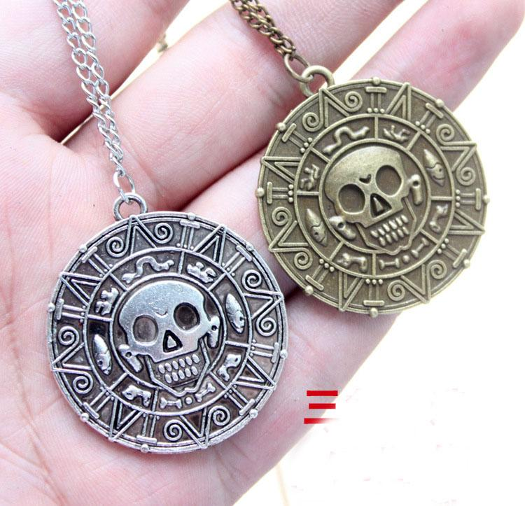 Free DHL Pirate Pendant Necklace Sweater Chain Necklace Caribbean American Retro Round Skull Necklaces Captain Jack Bronze Jewelry ZJ-N17