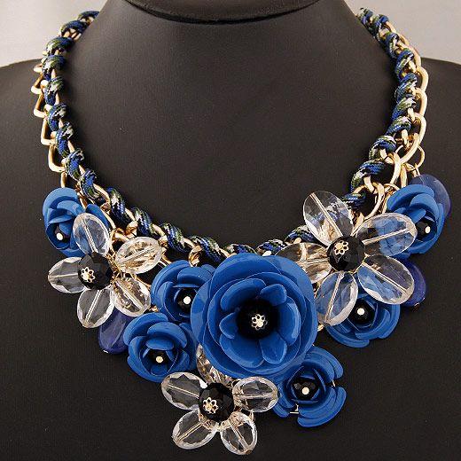 Collane di moda trasparente grande collana di donne in resina fiore di cristallo collana vintage dichiarazione gioielli moda