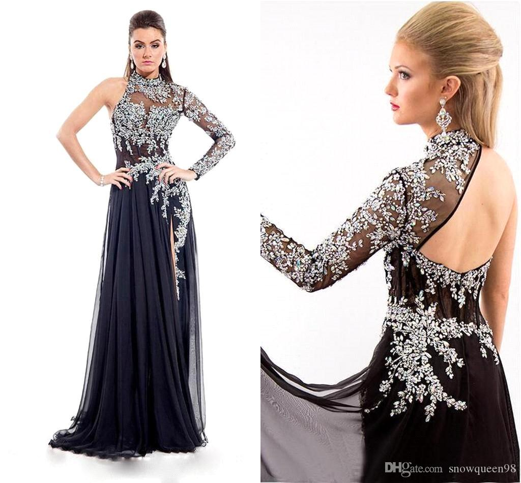 New Sexy High Neck Prom Dresses 2016 Backless Crystal Rhinestones ...