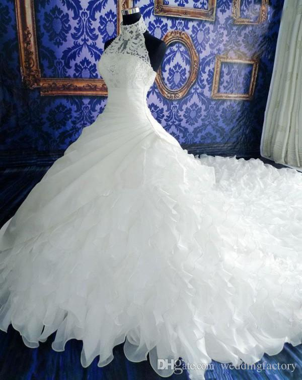 높은 목 환상 유혹 웨딩 드레스 절묘한 파란색 페르시 크리스탈 레이스 Appliqued 상위 프릴 스커트 긴 대성당 기차 신부 가운