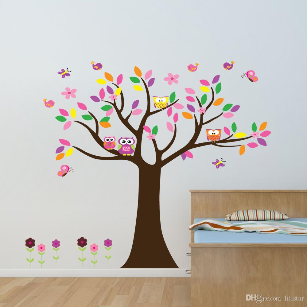 Removable Wall Stickers Owl Flower Tree Cartoon Children'S Room Bedroom Wall  Decoration Sticker Vivid Cartoon Wallpaper Stickers Wall Q Childrens Wall  ...