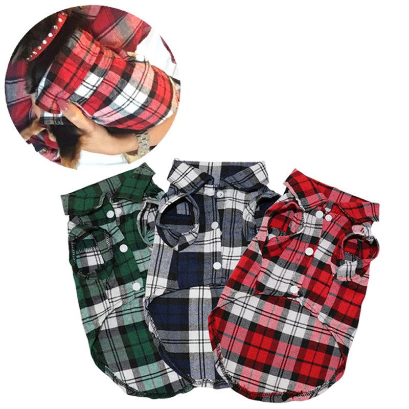 24f9498e4c25 2019 Wholesale Plaid Dog Clothes Summer Dog Shirts For Small Medium Dogs  Pet Clothing Yorkies Chihuahua Clothes Best Sale 11by23 From Chopin1220