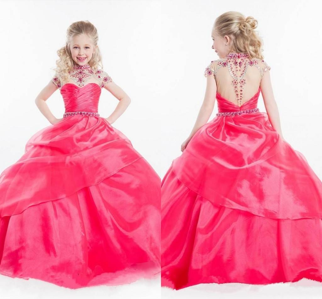 Compre Vestido De Baile Girls Pageant Vestidos 2015 Sheer Back Red ...