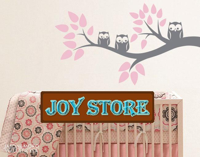Three owls on a Branch Wall Decal Children Wall Decals for home mural wallpaper 60*110CM