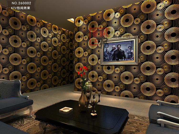 Modern 3d Embossed The Circle Wallpaper Hotel Reflective Pvc Black And Gold Bars Wall Paper Roll Hd Wallpapers