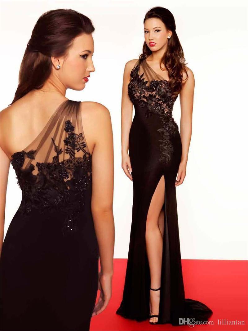 One Shoulder Sheer Lace Applique Sexy Side Slit Elegant Evening Dresses Black Prom Dress Party Gowns Sequins vestidos de festa