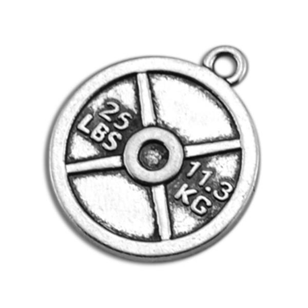 Zinc Alloy Sports 25LBS 11.3KG Weight Plate Disc Charm Jewelry